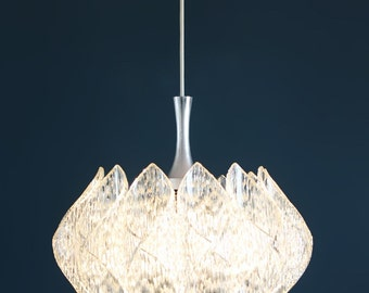 Lucite and glass pendant lamp chandelier, Ice-glass Kalmar style, vintage 70s.