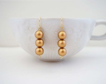 Gold Mini Bead Earrings