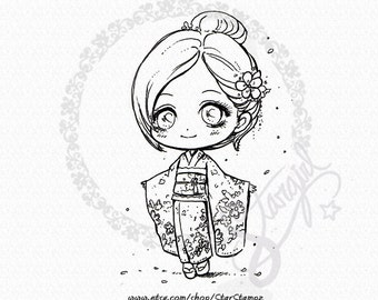 Kimono Portrait DIGITAL STAMP Instant Download