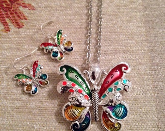 Large Brightly Enameled Joan Rivers Butterfly Pendant and Earring Set