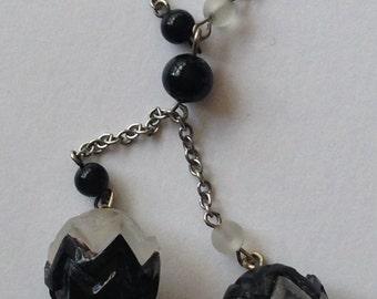 Vintage Art Deco Celluloid Glass Sterling Necklace