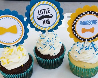 Little man cupcake toppers 24 ct.
