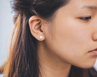Flat Pearl Stud Earrings
