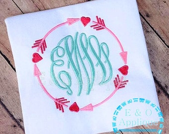 Tribal Arrow Hearts Monogram Embroidery Frame Digital Design - Valentine Monogram - Arrow Monogram - Love Monogram Embroidery Design