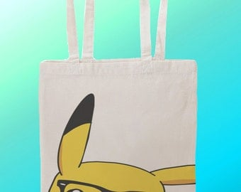 Pikachu Geek Glasses  - Reuseable Shopping Cotton Canvas Tote Bag