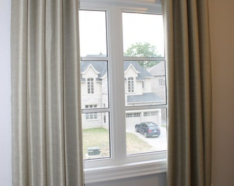 "Custom Drapes ""Saxon"", solid colour drapes, Grommet Panels, Drapery Panels, Made-to-Order"