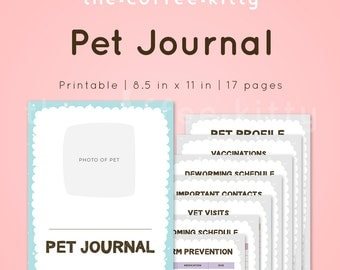 Printable Pet Journal, Cute Pet Record, Pets Medical Record PDF - Instant Download