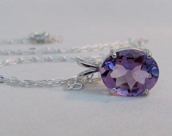 African Amethyst Necklace in Sterling Silver, 12x10mm Amethyst Gemstone, February Birthstone, Wedding Jewelry, Purple Bride Pendant