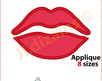 Lips Applique Design. Lips Embroidery design. Kiss applique design. Kiss embroidery design. Embroidery lips. Machine embroidery design.