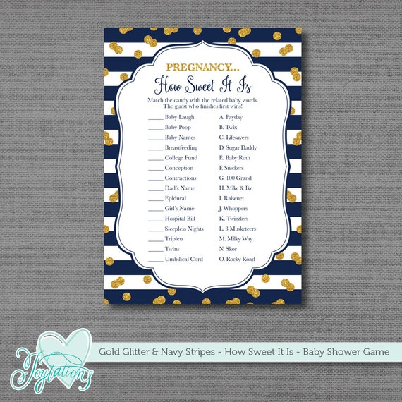 Sweet Sweet Baby Baby Shower Game: Gold Glitter And Navy Blue Stripes Pregnancy How Sweet It