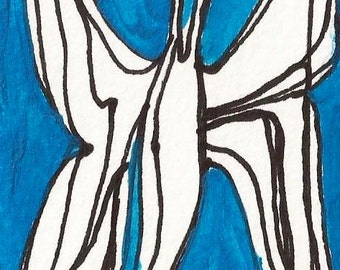 butterfly ACEO, blue, original, signed, drawing, painting, collectible