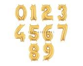 "14"" Metallic Gold Number Balloons, Gold Mylar Number Balloons"