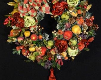 Elegant Lighted Christmas Wreath,Luxury Wreath,Thanksgiving Wreath,MacKenzie Childs Ribbon,Elegant Wreaths,Lighted Christmas Door Wreaths
