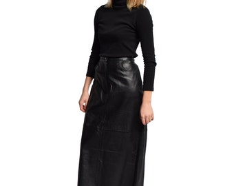Black Leather Maxi Skirt Vintage Real Leather Column Skirt High Waist Minimal Minimalist Goth Waist 30 31 L