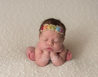 Rainbow Baby headband. Rainbow of Hope. Newborn headband. Photo prop. baby headbands.