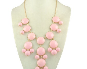 JCrew Inspired Light Pink Bubble Statement Necklace, Bib Necklace, Statement Necklace FREE SHIPPING!