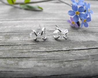 Small Herkimer Diamond Studs Sterling Silver Herkimer Diamond Earrings