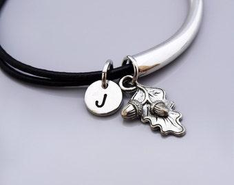 Acorn leaf charm bangle, Acorn bracelet, Acorn jewelry, Acorn leaf charm jewelry, Leather bracelet, Leather bangle, Personalized bracelet