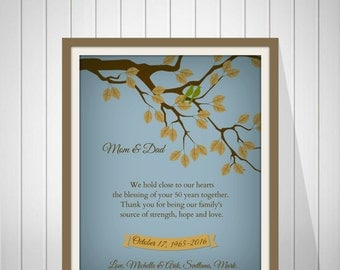 25th Wedding Anniversary Gift 50th GOLDEN Personalized Art Print