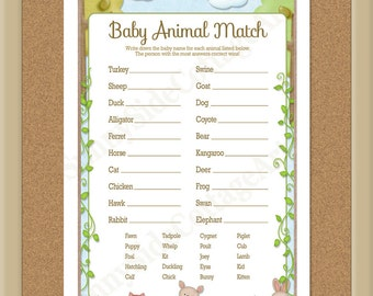 Baby Animal Match game in a sweet woodland theme,  baby shower animal match game, (18 ba)