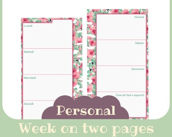 refill 1 week 2 pages undated Personal butterfly style - Printable -