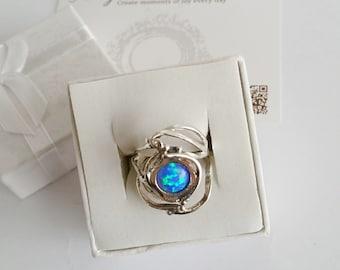 Opal ring, silver opal ring, gemstone ring, sterling silver ring, Blue gemstone ring, unique silver ring, stacking ring, silver band ring