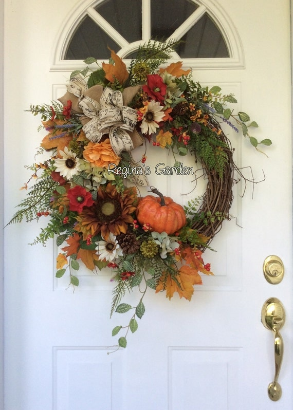 Fall Wreath Fall Wreath For Front Door Hydrangea Wreath Autumn: fall autumn door wreaths