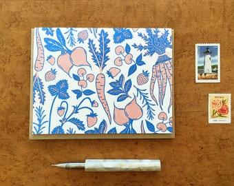 Veggie & Fruit Pattern, Letterpress Note Card, Blank Inside