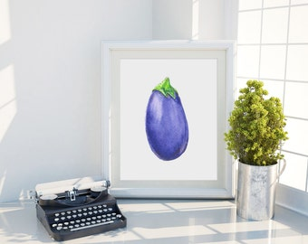 Eggplant Art Print - Vegetable Watercolor Art Print - Purple Eggplant Print - Kitchen Decor Wall Art - Kitchen Art - Original Art Print