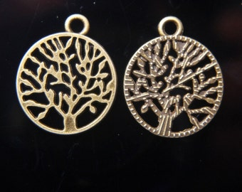 Bronze tree of life Tibetan charm round with tree in center 10 charms