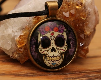 Day of the Dead Sugar Skull Dias De Los Muertos Samhain Halloween Jewelry Glass Cabochon  Necklace Skull Pendant