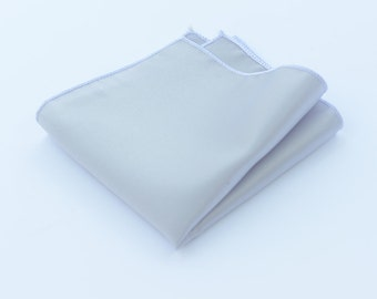 Silver Grey Pocket Squares.Mens Pocket Square.Wedding Pocket Squares