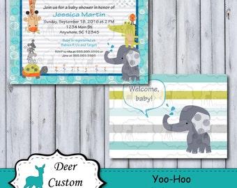 Custom Yoo-Hoo Baby Shower Invitation   Yoo-Hoo Nursery by Lambs & Ivy   Printable or Printed   Personal Use   Elephant Monkey Griaffe