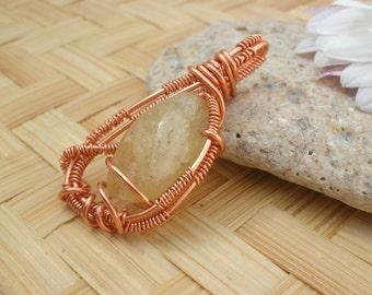Citrine Pendant / Solar Plexus Chakra Pendant / Natural Citrine Wire Wrapped Pendant / Chakra Wire Wrapped Jewelry / Reiki & Chakra Pendant