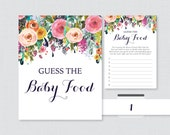 Floral Baby Shower Game Guess the Baby Food Activity - Printable Baby Shower Baby Food Game, Baby Food Activity - Shabby Chic Flower 0025-B