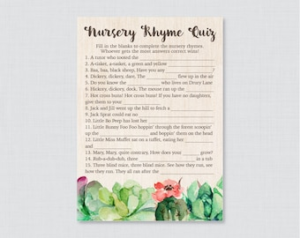 Succulent Nursery Rhyme Quiz Baby Shower Game - Printable Instant Download -  Rustic Green Succulent Baby Shower Nursery Rhyme Quiz 0061