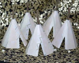 Edible Teepee's 3D 5 Champagne Blush Boho Tipi Wafer Paper Bohemian Wedding Cake Decoration Wild One Fall Birthday Cupcake Topper Cookie RTD
