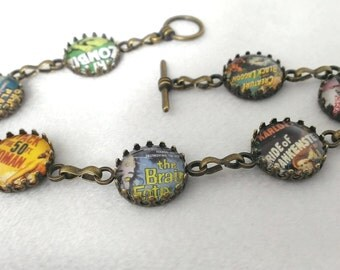 Retro movie poster bracelet design 2 - film jewellery - geek horror sci fi jewelry
