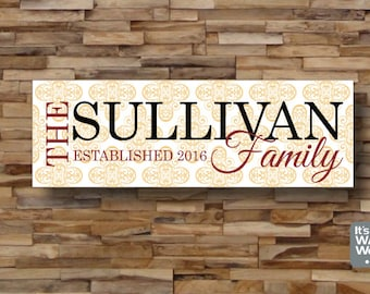 Personalized Family Last Name Wall Canvas - Custom Colors