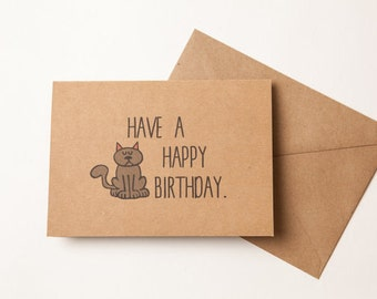 FROM THE CAT birthday card - Husband - Girlfriend - Wife - Boyfriend - Greeting Card - Funny Humor - From the cat  Card