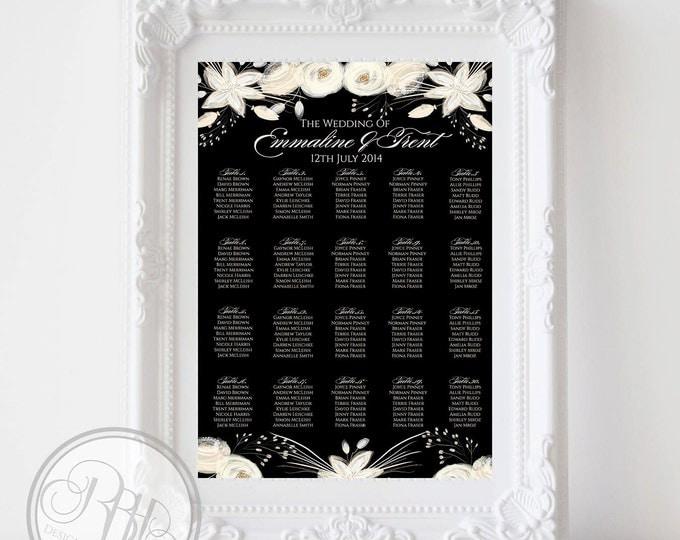 Black & Ivory Watercolor Flowers Wedding Seating Chart - Ivory Flowers Digital Files DIY Printable - Valerie Seating Chart black background