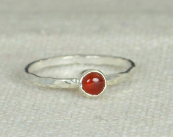 Small Silver Carnelian Ring, Sterling Silver Solitaire, Red Stone Ring, Silver Jewelry, Red Solitaire, Solitaire Ring, Silver Band