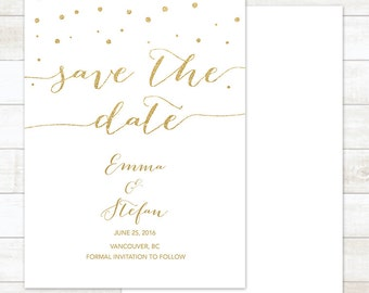 save the date invitation, white gold save the date card, save the date announcement, save the date printable, wedding announcement