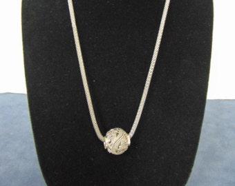 Vintage Estate .925 Sterling Silver Necklace & Filigree Ball Pendant 15.7g E2262