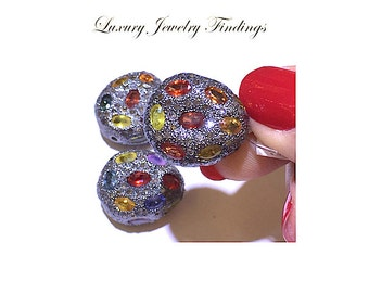 Multi Color Sapphire Beads for Jewelry Making, Beads for Necklace Jewelry Components, Beads Findings, Bracelet Component, Necklace Connector