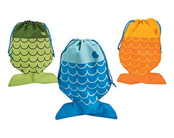 6/  My Fishing Party Favor Bags / Party favor bags / Drawstring Bags / Fisherman theme