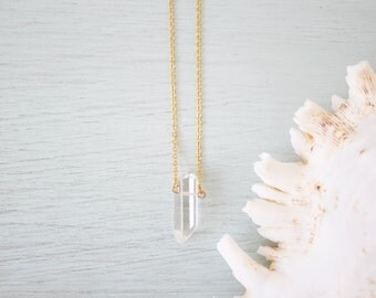 Tiny clear crystal quartz necklace - Small rock crystal necklace - Little clear crystal necklace - Tiny crystal necklace - Small crystal