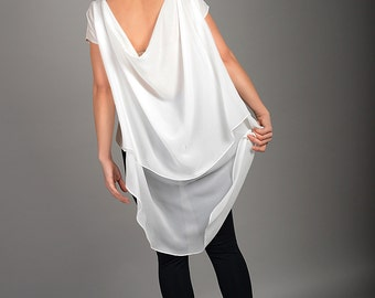 See Through Blouse, Asymmetric Tunic, Plus Size Shirt, Womens White Blouse, Chiffon Layered Blouse, Short Sleeve Tunic, Womens Loose Shirt