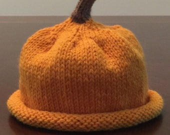 Halloween Costume, Ready To Ship, Pumpkin Hat, Baby Shower Gift, Hand Knitted Baby Hat, Baby Pumpkin Hat, Knitted Fruit Hat, Christmas Gift