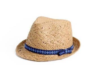 Brown fedora hat , Custom hats , Sun hat  for women , decorated with a crochet ribbon.